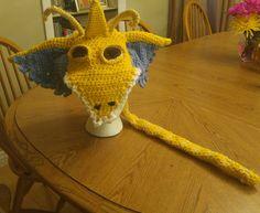 Dragonite Pokemon inspired crochet hat for a grandson