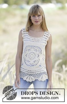 "Crochet DROPS top with crochet squares in ""Belle"". Size: S - XXL. Free Pattern"
