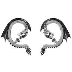 Black and White Diamond Earrings by Elise Dray Dragon Jewelry, Snake Jewelry, Animal Jewelry, Jewelry Art, Lotus Jewelry, Vintage Jewelry, Fine Jewelry, Jewellery, Fake Piercing