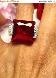 Flash Sale Estate Huge Faux Ruby Red Crystal Stone by Glamaroni