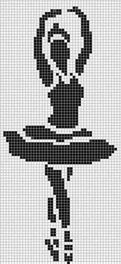 A ballet dancer in blackwork. Crochet Cross, Crochet Chart, Filet Crochet, Perler Patterns, Loom Patterns, Cross Stitching, Cross Stitch Embroidery, Cross Stitch Designs, Cross Stitch Patterns