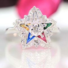 Estate 14k White gold Natural VS Diamond & Multicolor Sapphire Star ring .56ctw by crystalanchor on Etsy