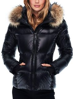 Blake Fur-Trim Down Coat.'s sporty take on a classic down jacket includes toasty extras like long recessed knit cuffs and a plush, fur-trimmed hood for a look that's both slopes- and downtown-streets-worthy. Available in 4 great colors. Puffer Vest Outfit, Poncho Outfit, Vest Outfits, Casual Outfits, Coats For Women, Jackets For Women, Dress The Population, Wardrobe Basics, Fall Wardrobe