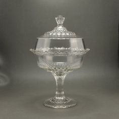 EAPG Co-operative Flint Glass Plain Pattern Covered Compote Beautiful and large piece of Early American Pattern Glass by the Co-operative Flint Flint Glass, Blue Mason Jars, Antique Glassware, Glass Company, Pressed Glass, Glass Collection, Or Antique, Vintage Home Decor, Vintage Shops