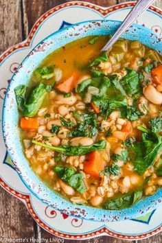 (Omit oil; serves 3) Spinach Vegetable Barley Bean Soup - nutritious, hearty, perfect meal-in-a-bowl for fall and winter.