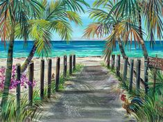 View source image Beach Mural, Beach Art, Seascape Paintings, Watercolor Paintings, Hawaii Pictures, Beach Scenery, Hawaiian Art, Caribbean Art, Tropical Art