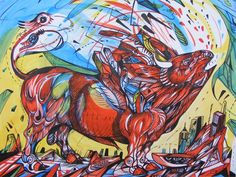 Take a challenge artist Marko Gavrilovic Bull Painting, Artist Painting, Painting & Drawing, Rooster, Contemporary Art, Challenge, Drawings, Animals, Animaux