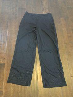 Ann Taylor Petites Black Embellished Leg Zipped Waist Dress Pants Size 8P #AnnTaylor #DressPants