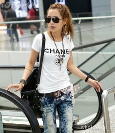 chanel tshirt. such a cute outfit.