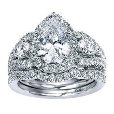DIAMOND ENGAGEMENT RINGS - 14K White Gold Pear Shaped 3-Stone Halo Diamond Engagement Ring