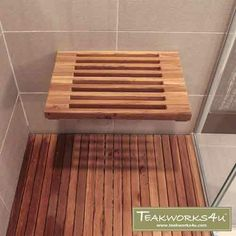 Purchase Wide Teak Wall Mount Fold Down Teak Shower Seat from on Dot & Bo. Shower Seat, Shower Floor, Shower Benches, Teak Shower Mat, Spa Shower, Zen Bathroom, Budget Bathroom, Bathroom Interior, Small Bathroom
