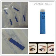 50 PCS 18 Pin U Shape Tattoo Needles Permanent Makeup Eyebrow Embroidery Blade For 3D Microblading Manual Tattoo Pen