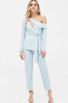 Cut Out One Shoulder Lapel Tailored Jacket in Dusty Blue – Lavish Alice Look Fashion, Womens Fashion, Fashion Trends, Stylish Outfits, Cute Outfits, Sleeves Designs For Dresses, Royal Clothing, Tailored Jacket, Blazer Dress