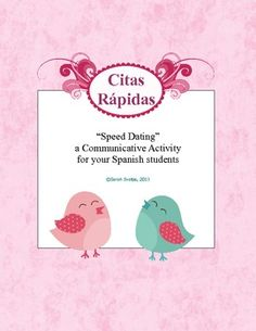 $2  Speed Dating / Citas Rapidas - Spanish class Communicative Activity - a silly, fun partner speaking activity just in time for Valentine's Day!  :)