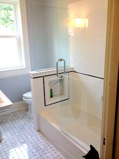 Looking for a custom shower/ with a tub solution, this one isnt bad with my own tile choice Upstairs Bathrooms, Hall Bathroom, Bathroom Kids, Bathroom Renos, Laundry In Bathroom, Bathroom Renovations, Master Bathroom, Tub Shower Combo, Shower Tub