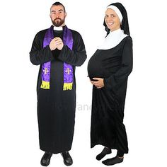 Couples #priest and #pregnant nun #costume religious funny fancy dress ladies men  sc 1 st  Pinterest & Baby Announcement (which doubled as a Halloween costume)   Kids ...