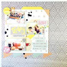 May 2014 Hip Kit Club Layout by DT member Ashley Fowler. Happy Today, You Make Me Happy, Hip Kit Club, Hello Sunshine, Basic Grey, Studio Calico, Layout Inspiration, My World, Projects