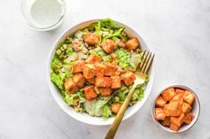 Buffalo Tofu Salad with Creamy Hemp Ranch