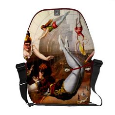 Vintage Circus Poster ~ Girl Trapeze Act Courier Bag great messenger bag vibrant vintage acts of daring Cool Messenger Bags, Vintage Messenger Bag, Vintage Circus Posters, Commuter Bag, Pack Your Bags, Sewing Leather, Beautiful Bags, Luggage Bags, Leather Handbags