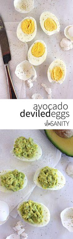 Avocado deviled eggs are a simple twist to a normal hard-boiled egg! #paleo #foodprep | slimsanity.com
