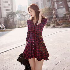 Dress Women  Brand New Vintage Long Sleeve Red Plaid Check Lapel V-Neck Buttons Pleated Shirt Dresses Spring Casual Vestidos – goods-fashion.net