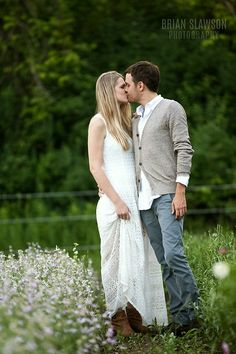 Photo by Brian Slawson Photography. Flower fields. #rustic #engagements #romantic