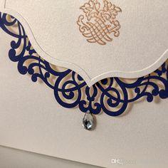 Royal Blue European Laser Cut Wedding Invitations cards 2015 New Vintage Unique Flora Design Bouquet Print