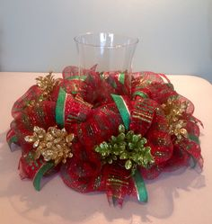 16 Red Green Striped Deco Mesh Christmas Centerpiece