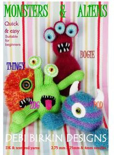 monsters and aliens PDF email knitting pattern by BunnyFriends Tea Cosy Knitting Pattern, Tea Cosy Pattern, Arm Knitting, Knitting Patterns Free, Baby Diy Projects, Loom Knitting Projects, Vintage Knitting, Crafty, Monsters