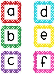 Multi-colored polka dot printable letters