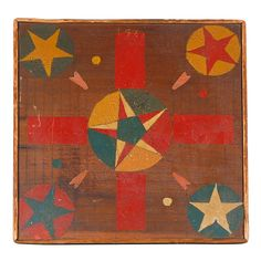 Antique Painted Parcheesi Gameboard