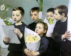 """""""Paying Homage To The Teacher On A Holiday"""". Henri Jules Jean Geoffroy (1853-1924), French painter."""