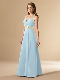Alfred Angelo Style 6545 in Robin's Egg with Butter Trim. Satin, Chiffon, Crystal Beading, Sequins