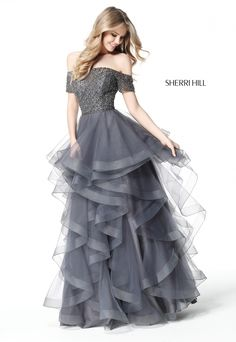 387954c0f5c Ypsilon Dresses · Silver   Gold Prom · Sherri Hill 51271 Silver Gunmetal  Grey Ruffle Skirt ballgown with beaded bodice and off the shoulder