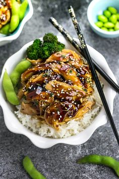 Easy slow cooker Chicken Teriyaki is super simple with the best homemade teriyaki sauce and way easier than take-out! Delicious!