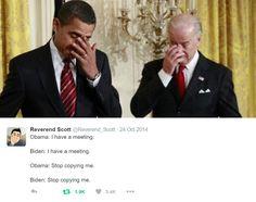 """This looks like one of those """"we irritating"""" memes Joe And Obama, Obama And Biden, Joe Biden, Obama Meme, Obama Funny, Best Memes, Funny Memes, Hilarious, Jokes"""