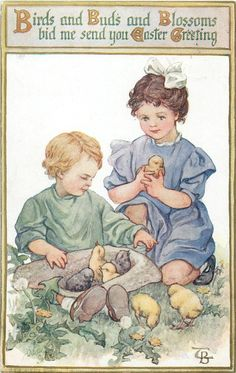 Girl & boy with chicks & dandelions, Easter greeting, 1914.