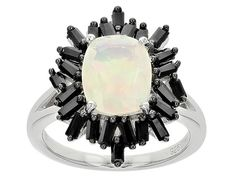 Hello haute-y! We love this elegant opal ring! - 1.35ct Rectangular Cushion Ethiopian Opal And 1.00ctw Baguette Black Spinel Sterling Silver Ring