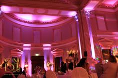 Pink wedding reception lighting at Customs House in the Brisbane CBD   G&M DJs   Magnifique Weddings #gmdjs #magnifiqueweddings #weddinglighting #customshouse #brisbanewedding @gmdjs