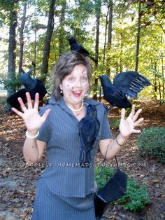 """Classic Homemade Costume Idea: Hitchcock's """"The Birds""""… Enter Coolest Halloween Costume Contest at http://ideas.coolest-homemade-costumes.com/submit/"""