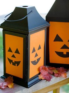 Cute Pumpkin Faces | Cut out pumpkin faces on cardstock to make ... | Eerie Halloween Deco ...