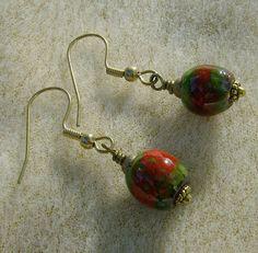 Dangle Earrings  Red & Green Handmade Glass от JewelryArtistry