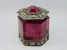Asian arts Purple and Silver Vintage Cream or Salve Jar. Ornate on Etsy, $18.00
