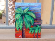 Small Palm Tree Painting - 5x7 canvas panel - Tree Art - Palm Tree Art - Sunset - Tropical - Paradise by HeartsAndKeys on Etsy