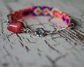Haute Hippie Friendship Bracelet with coral and sterling accents $30  www.daisypetaldesigns.etsy.com