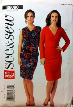 "Butterick Sew&Sew B6080 | Misses' Dress. (Sizes 8-16, Bust 31½""-38"")"