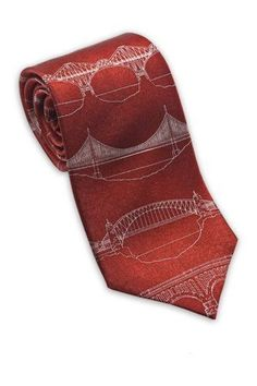 Josh Bach Mens Bridges Blueprint Silk Necktie Red Made in USA ** See this great product.