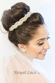 Wedding headband wedding hair accessory by RoyalLaceBridal on Etsy