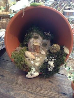 Handmade terra cotta pot fairy cottage by BlackSquirrelStudios, $45.00