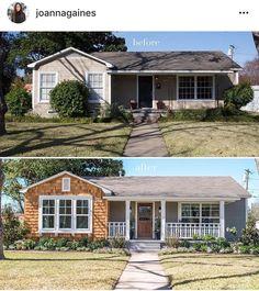 Home Exterior Makeover, Exterior Remodel, Porch Makeover, Joanna Gaines, Exterior Paint, Exterior Design, Ranch House Remodel, Modern Farmhouse Exterior, Bungalow Exterior